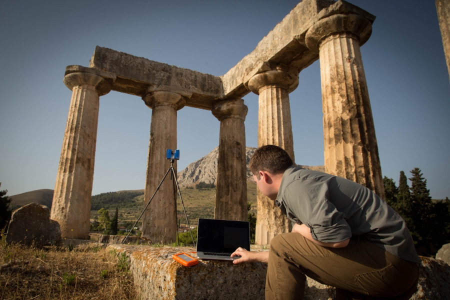 CyArk laser-scanning the Temple of Apollo at Ancient Corinth in Greece. (Credit:     CyArk)