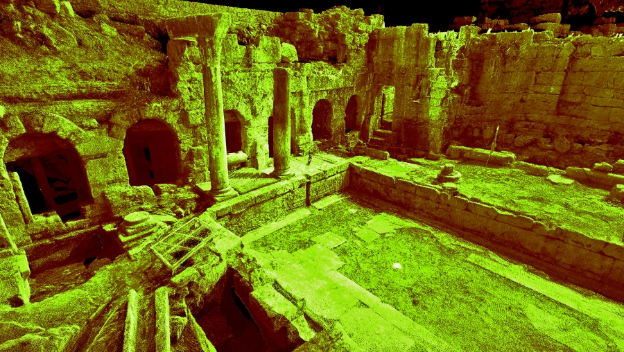 Laser scan data of the Peirene Fountain at Ancient Corinth in Greece. (Courtesy of CyArk)