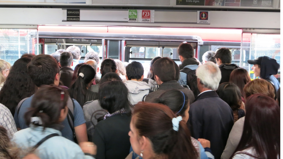 Passengers have reported waits up to 45 minutes at busy TransMilenio stations.