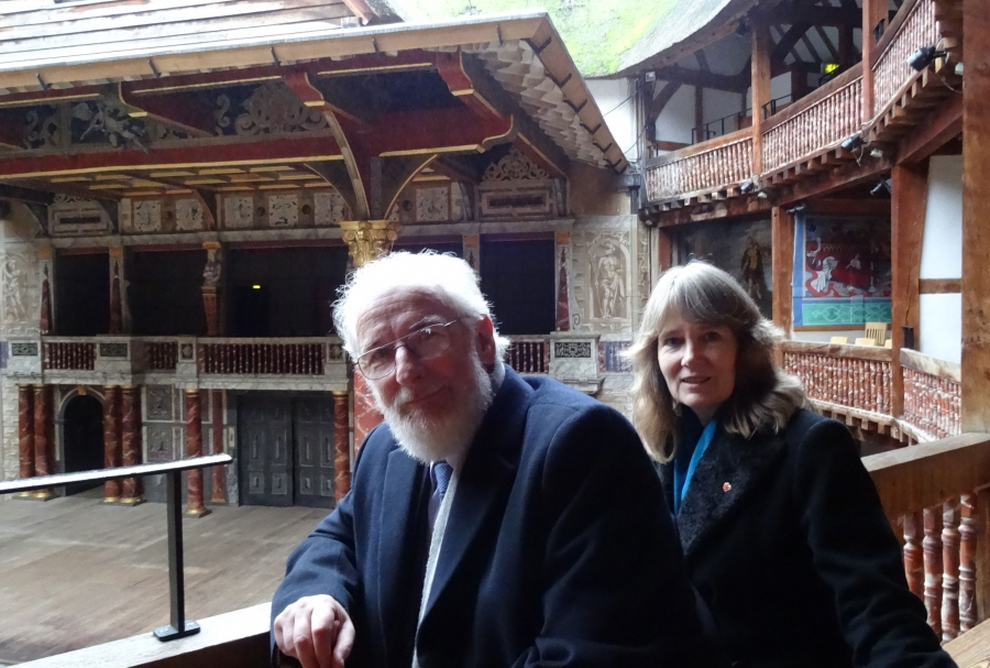 "David and Hilary Crystal at Shakespeare's Globe in London. The Crystals are the authors of ""Wordsmiths and Warriors: The English-Language Tourist's Guide to Britain."""