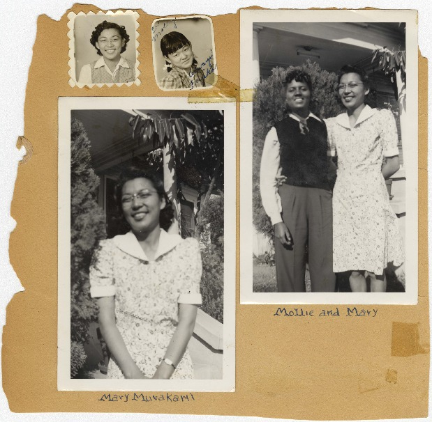 Four black and white photographs on a portion of a scrapbook page. Shows Mary Murakami, Fujiko Murakami and Mollie Wilson.