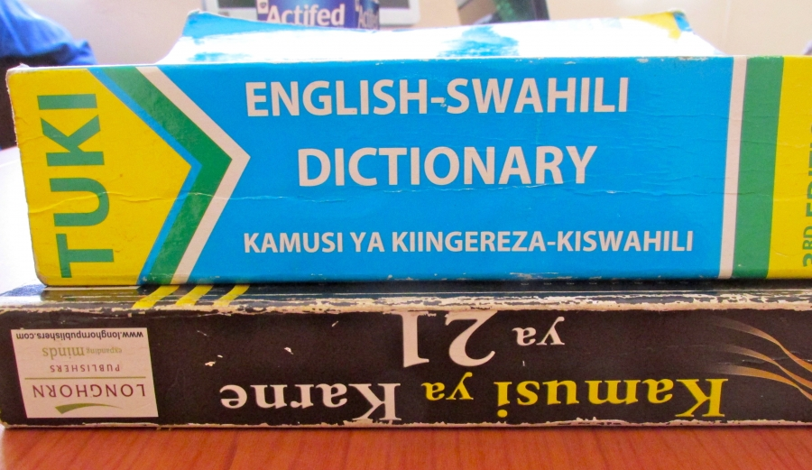 Reference materials at the offices of Translators Without Borders in Nairobi.
