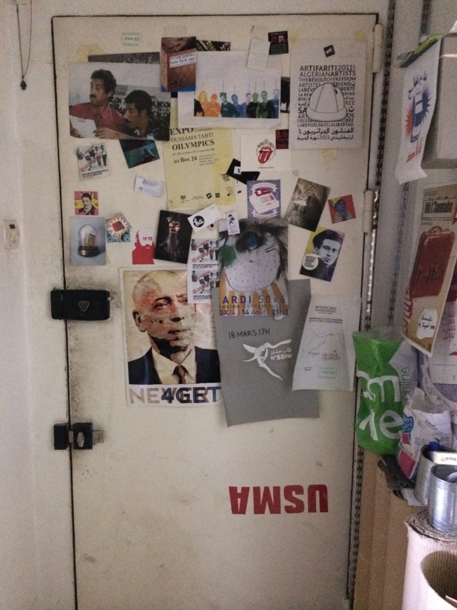 The door to BOX 24, an artist collective in the Algiers neighborhood of Telemly.
