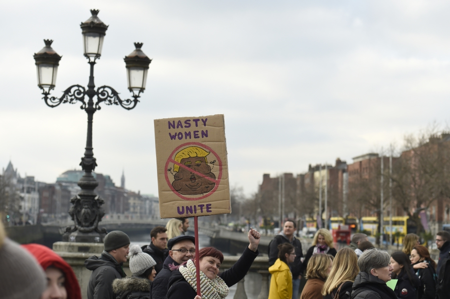 Protesters take part in the Women's March on Dublin, Ireland, January 21, 2017