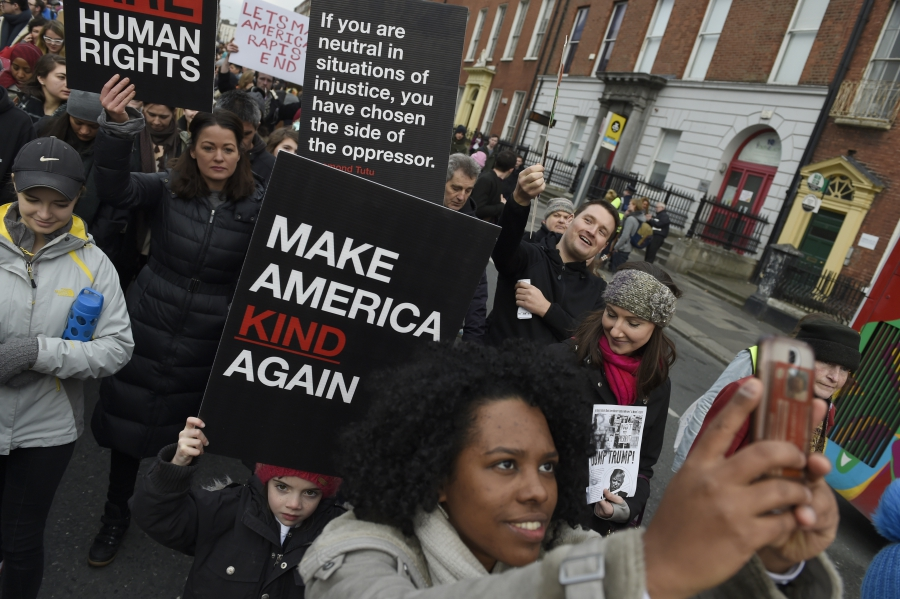 Protesters take part in the Women's March on Dublin, Ireland, January 21, 2017.