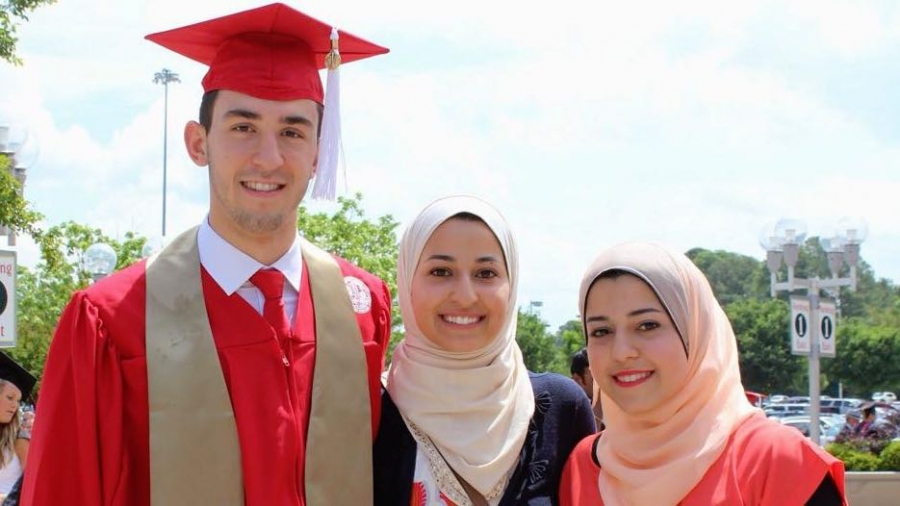 Dr. Suzanne Barakat's brother Deah, his wife, Yusor, and Yusor's sister, Razan