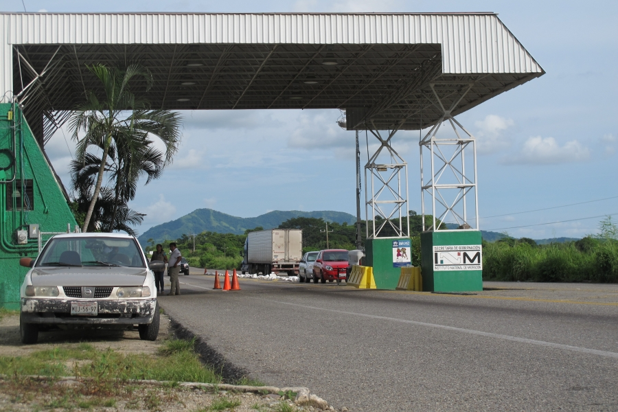 The immigration checkpoint outside Chahuites. Some migrants spend weeks walking around checkpoints in southern Mexico where they face high risks of robbery, kidnapping and sexual assault.