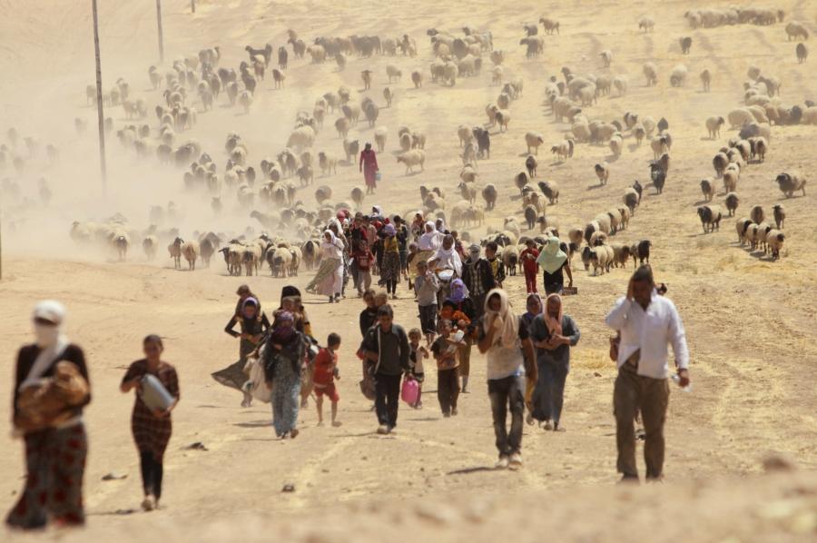 Displaced Yazidis fleeing ISIS forces in Sinjar walk toward the Syrian border, Aug. 10, 2014.