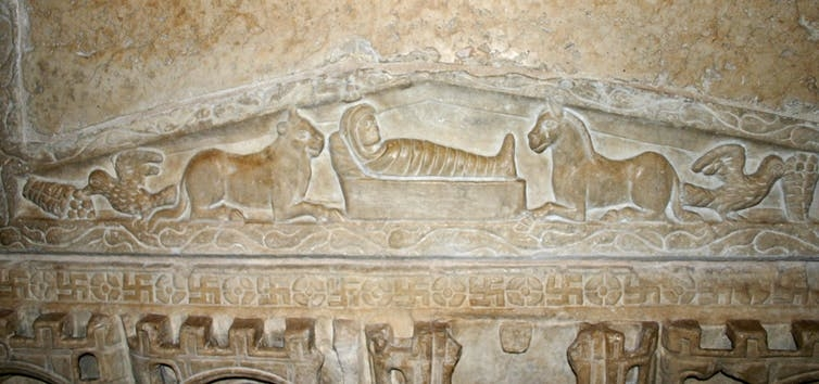 The earliest nativity scene in art, from a 4th-century Roman-era sarcophagus.
