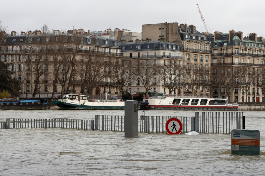 A view shows the flooded banks of the Seine River after days of almost non-stop rain.