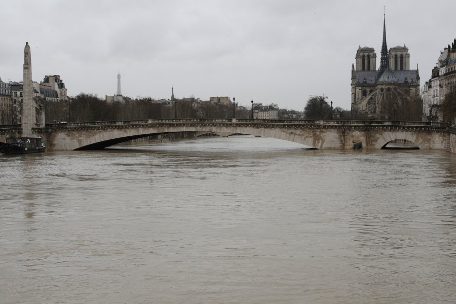 The rear of the Notre Dame Cathedral is seen as the muddy Seine River covers its banks.