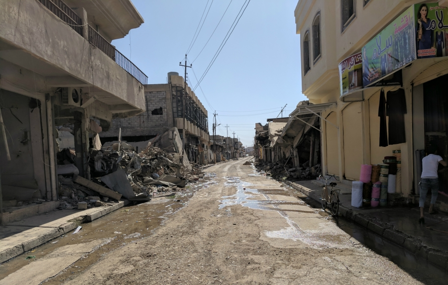 A street in Bartella. The town was heavily damaged during the operation by Iraqi forces to recapture it.