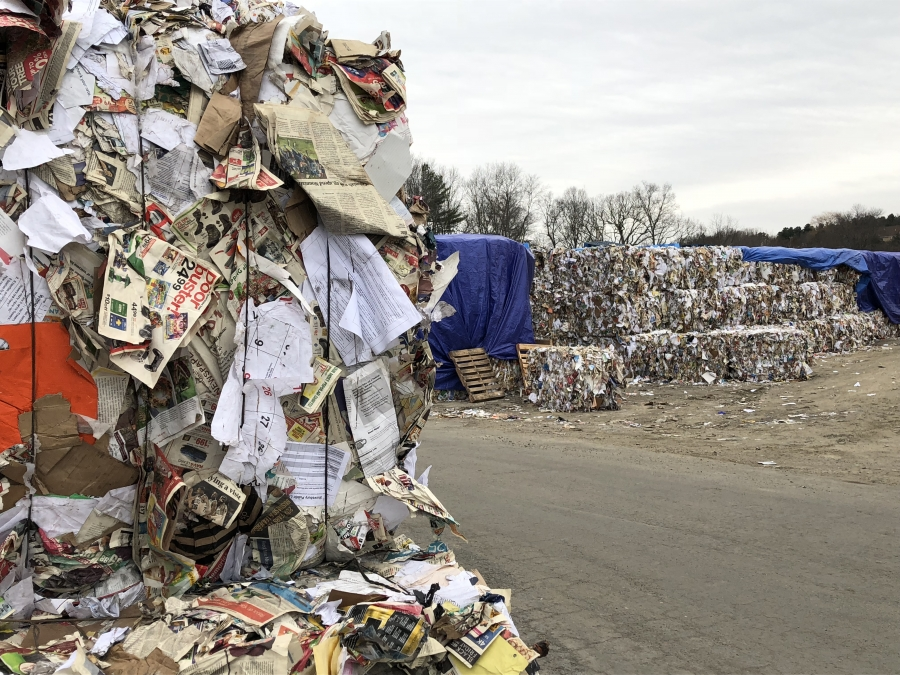 In December, about 3,000 bales of paper piled up on the property of  E.L. Harvey & Sons in Westborough, Mass.