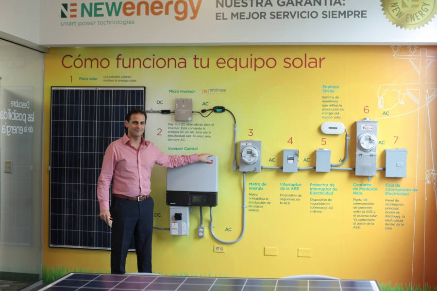 New Energy CEO Alejandro Uriarte says his company sold 200 solar battery systems in October, up from roughly 5 per month before hurricanes Irma and Maria hit Puerto Rico in September. Uriarte says he's also hired about three dozen technicians to install a