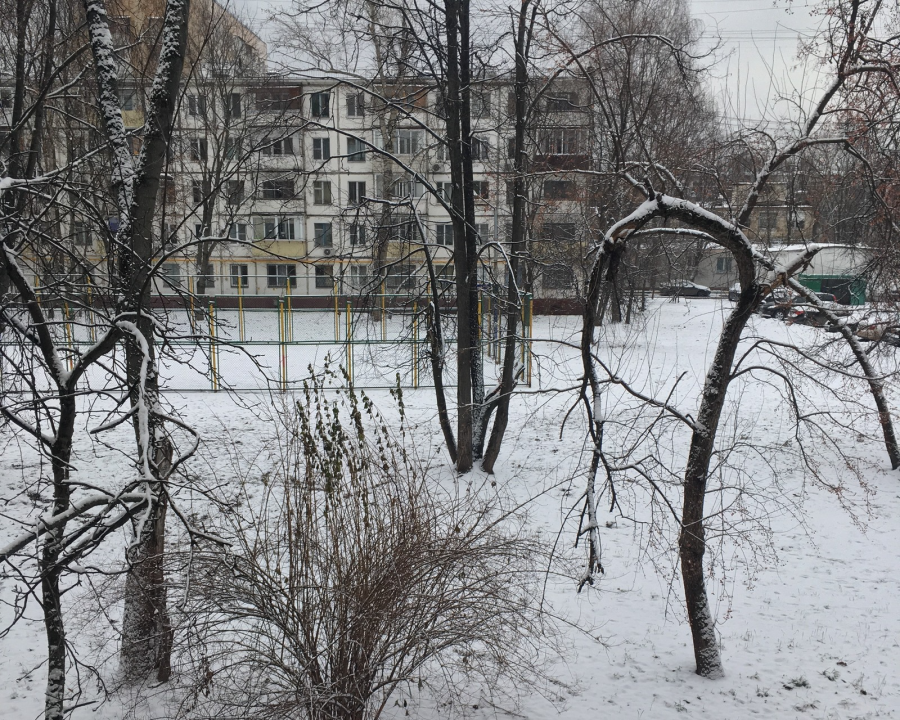 Moscow finally gets some snow, though not a lot, on January 6th, 2018.