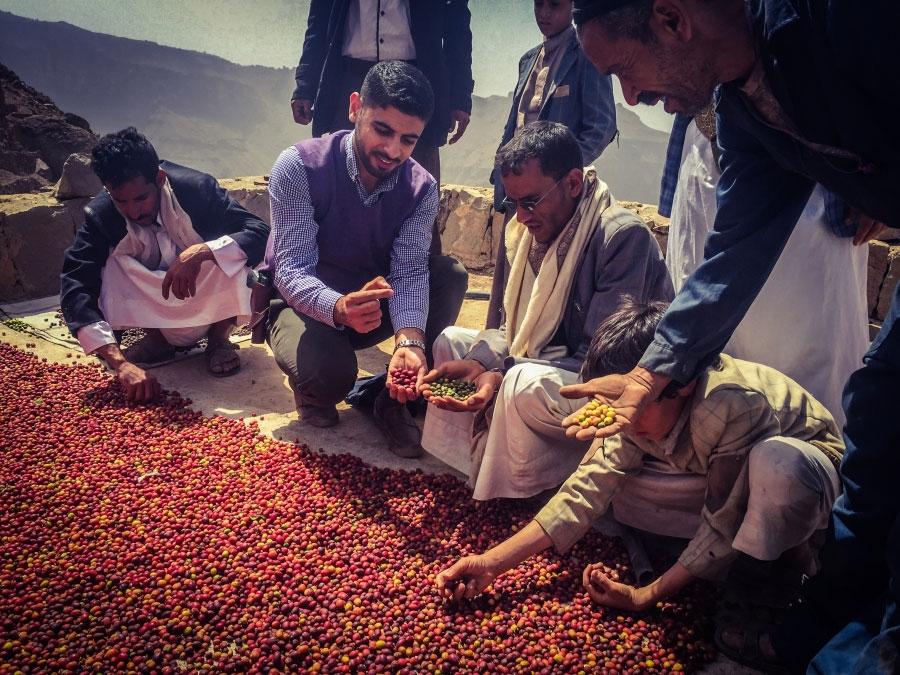 Alkhanshali with coffee farmers in Yemen.