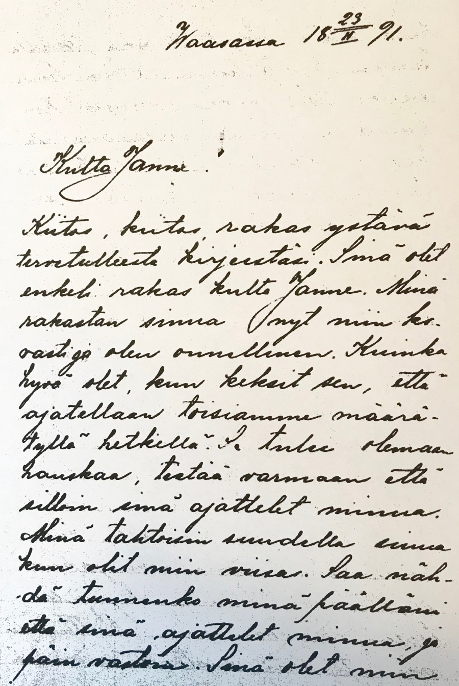 A letter from Aino to Jean Sibelius.