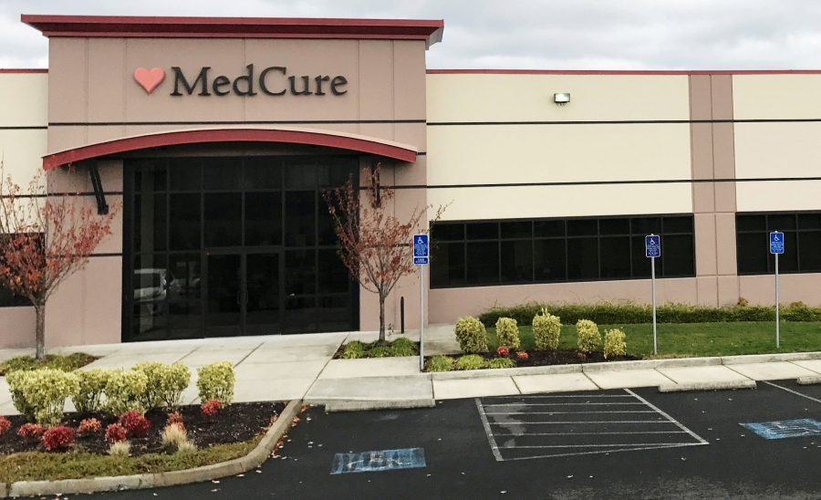 The headquarters of MedCure, one of the nation's largest body brokers, raided by FBI agents last week conducting a search warrant, is shown outside Portland, Oregon, Nov. 6, 2017.
