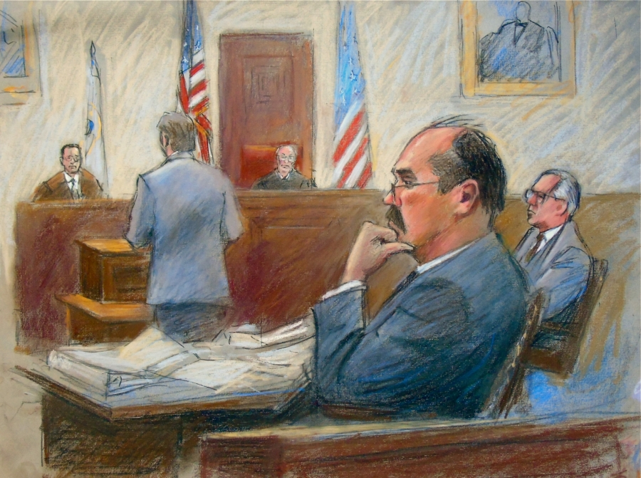 Arthur Rathburn, convicted of defrauding customers by supplying infected body parts and transporting hazardous materials, listens to testimony at his trial in Detroit, Michigan, Jan. 10, 2018 in this court sketch.