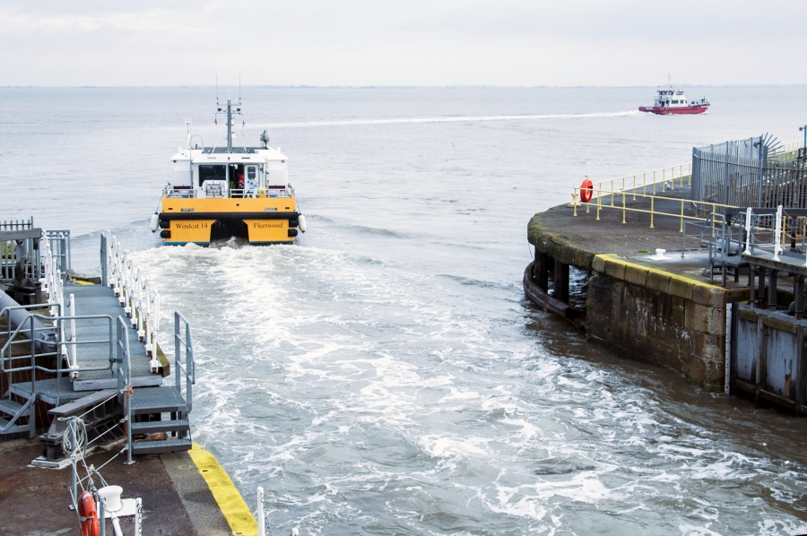 Crew Transfer Vessels (CTVs) ferry wind energy technicians out to offshore wind farms from the Port of Grimsby.