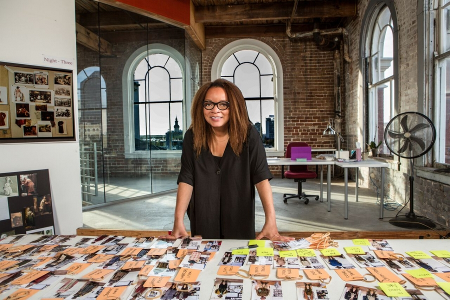 """Ruth E. Carter in her design studio for """"Roots."""""""