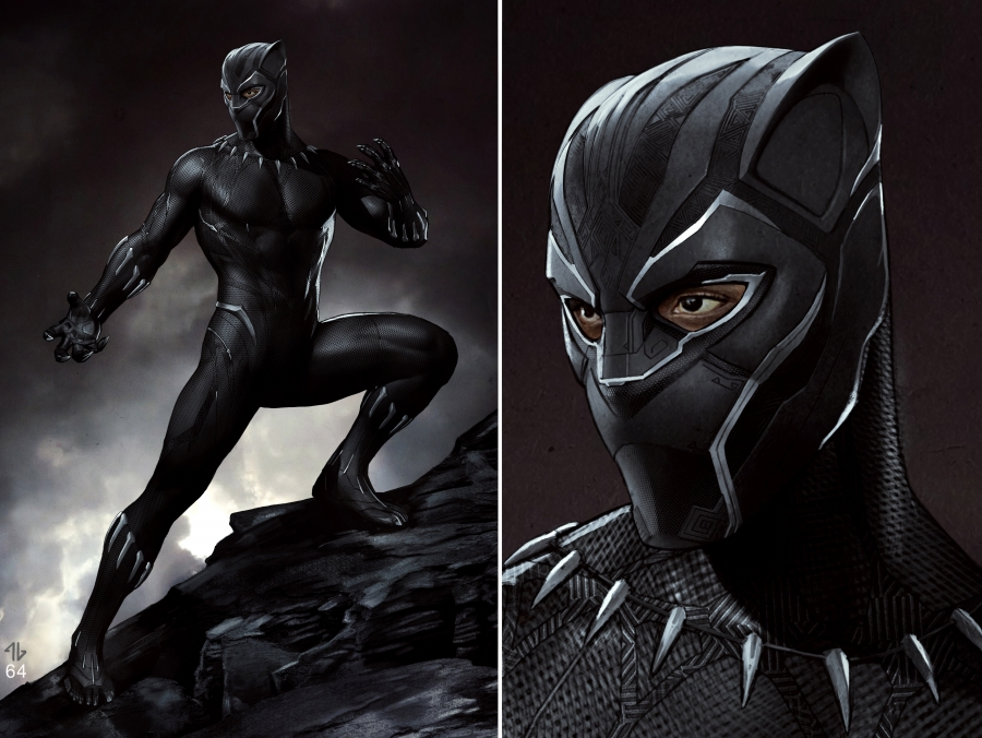 "Marvel Studios""Black Panther."" Black Panther Conceptual Character and Costume Design Sketch. Costume Design and Art by Ryan Meinderding and VisDev Team."