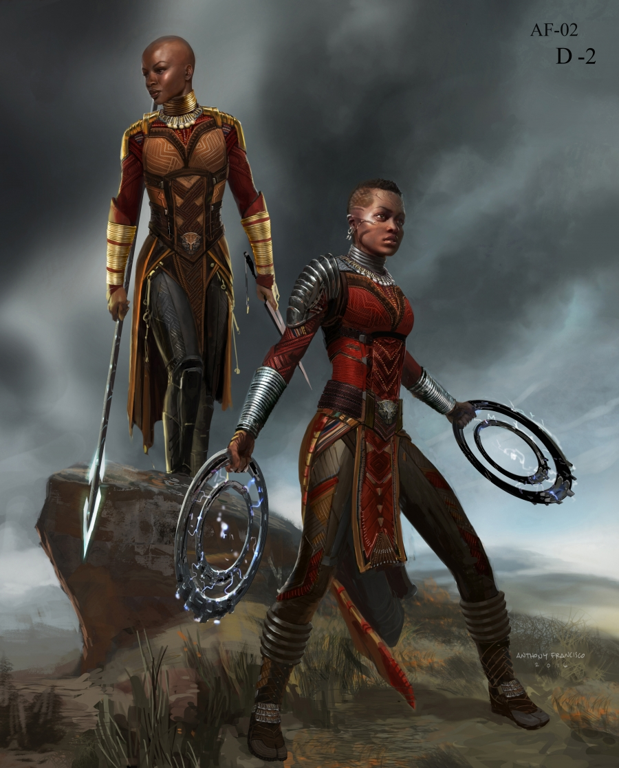 "Marvel Studios' ""Black Panther."" Dora Milaje Conceptual Character and Costume Design Sketch. Costume Design by Ryan Meinderding and VisDev Team. Concept Artist: Anthony Francisco."