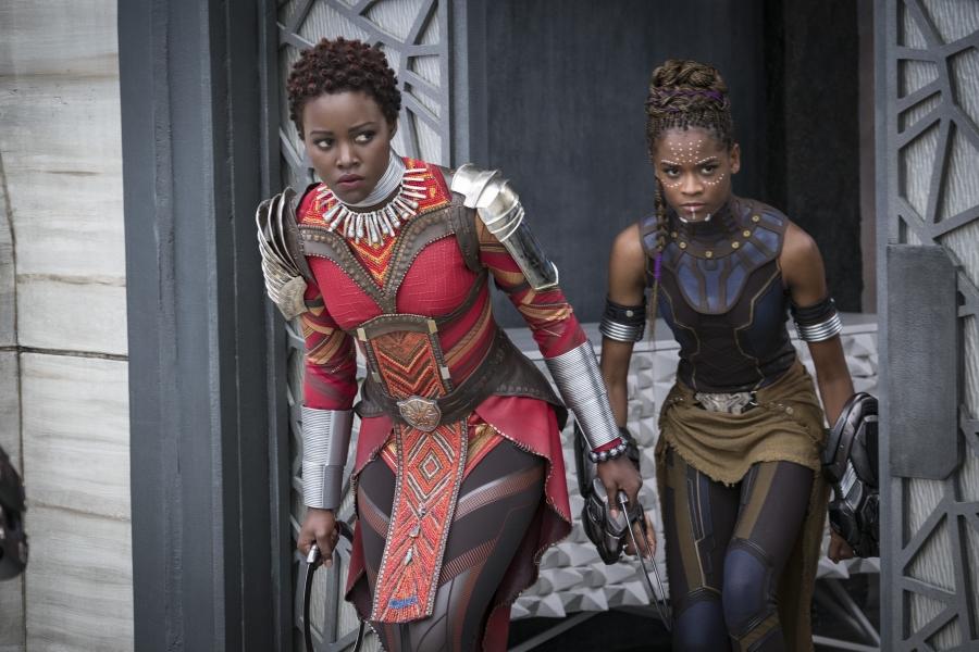 """Marvel Studios' """"Black Panther."""" L to R: Nakia (Lupita Nyong'o) and Shuri (Letitia Wright)."""