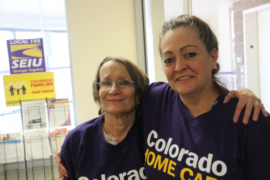 Personal care workers Marilyn Sorensen (left) and Candice Bateman in Denver. A person needs to earn $21 an hour to afford the average two-bedroom apartment in Denver, but average wages are only around $17 an hour.