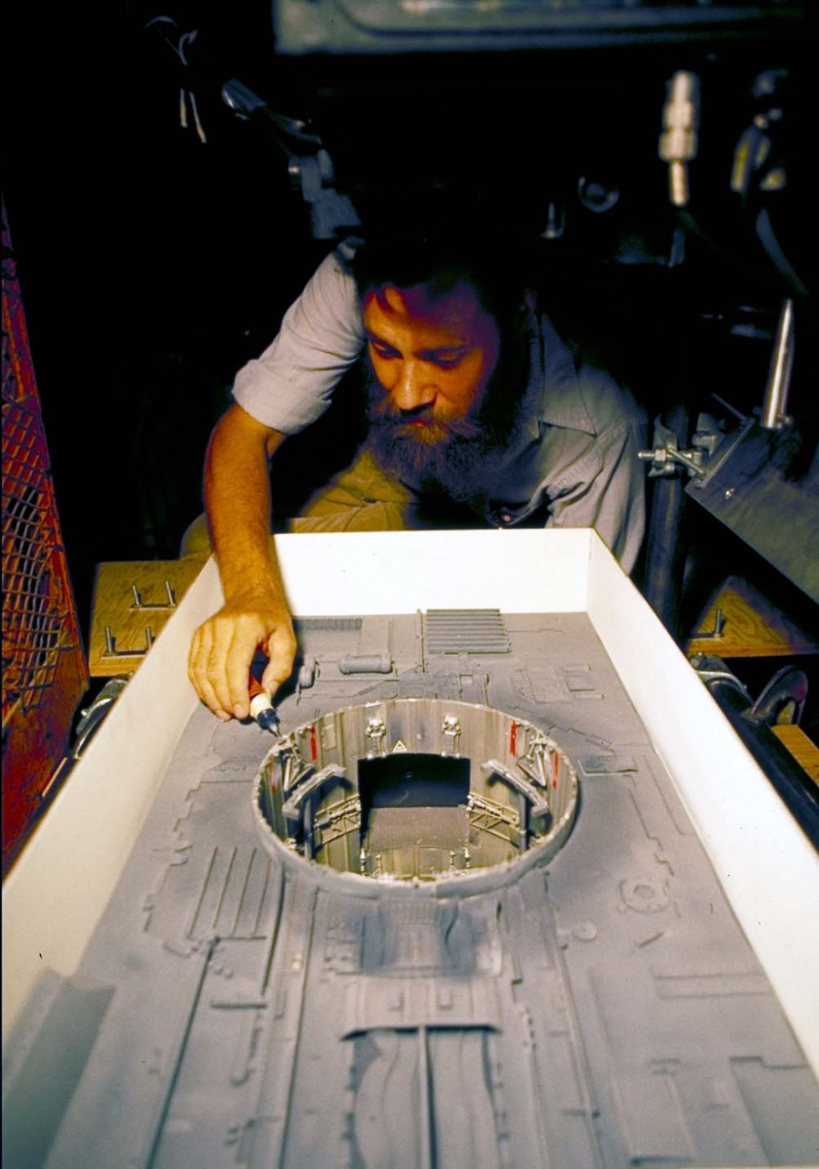 Jonathan Erland building a model for the original Star Wars.