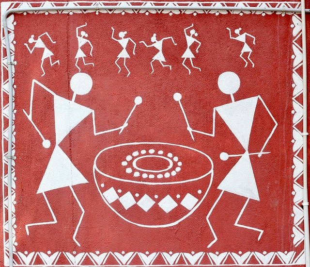 A mural depicting a ceremony involving drums found in Araku, Andhra Pradesh, India.