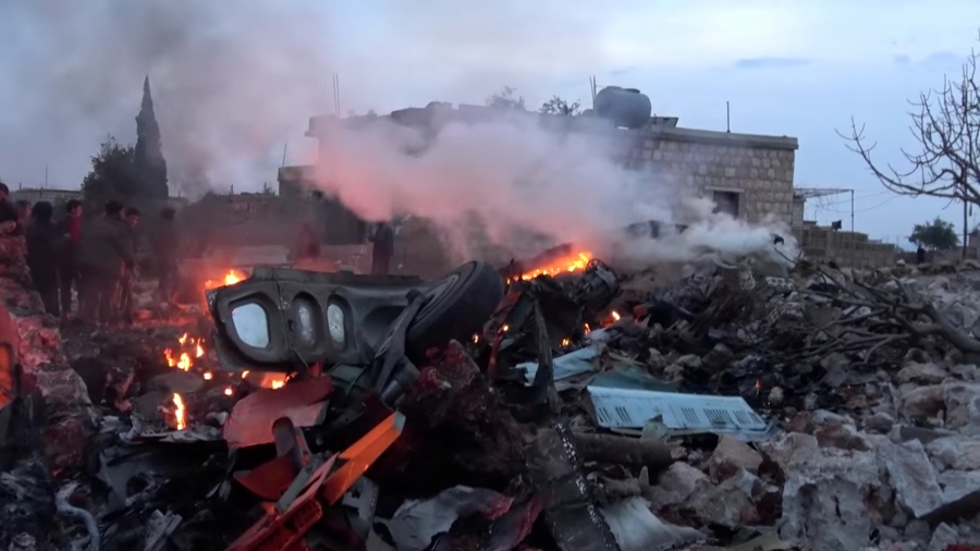 Syrian rebels say this image shows the Russian military plane shot down by rebel forces near Idlib, Syria, reportedly on Feb. 3, 2018.