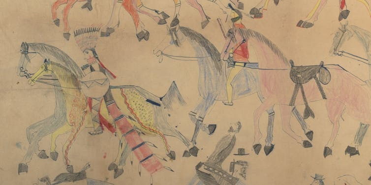 Untitled from the Red Horse Pictographic Account of the Battle of the Little Bighorn, 1881. Red Horse (Minneconjou Lakota Sioux, 1822-1907), graphite, colored pencil, and ink. NAA MS 2367A_08570700.