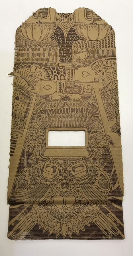 A piece of cardboard is decorated with pen, the work of a cartoonist while imprisoned