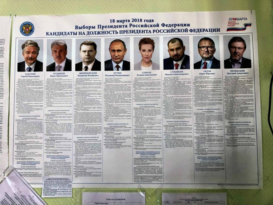 Photos of candidates for Russian president are on a poster.