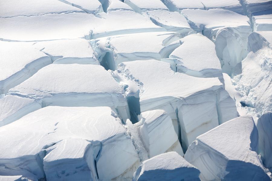A glacier is seen in Half Moon Bay, Antarctica.