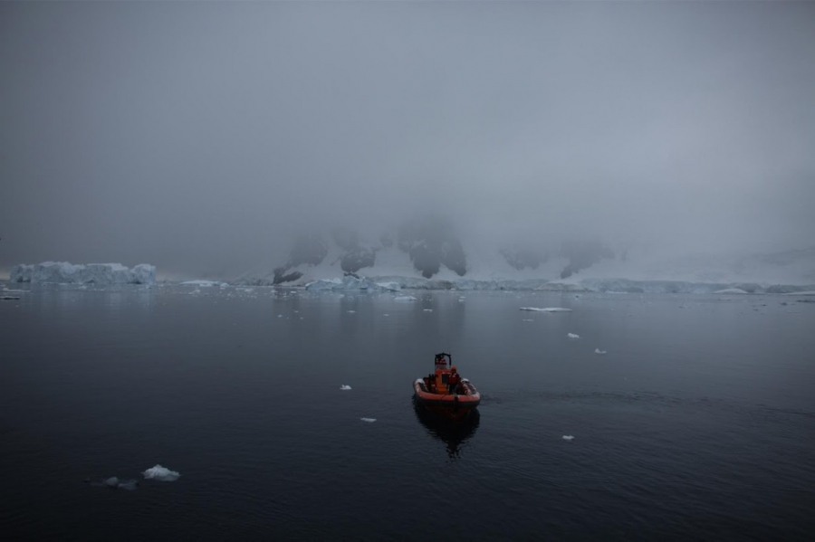 A Greenpeace boat sails in Andvord Bay.