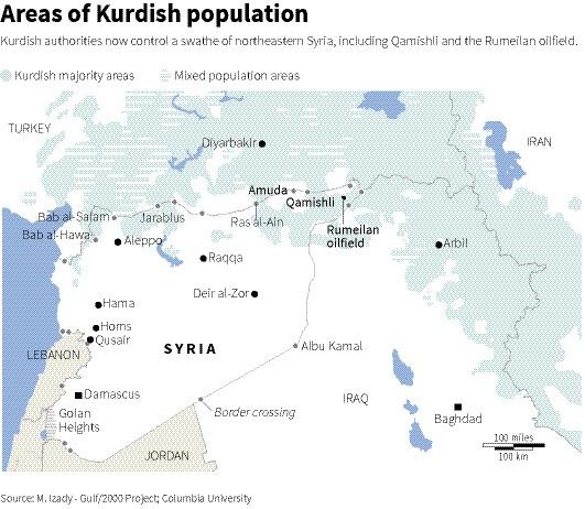 Map of Syria, Turkey, Iraq and Iraq showing Kurdish populated areas