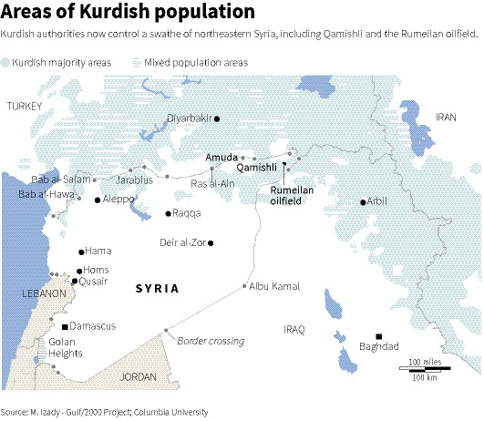 Map of Syria, Turkey, Iraq and Iraq showing Kurdish populated areas
