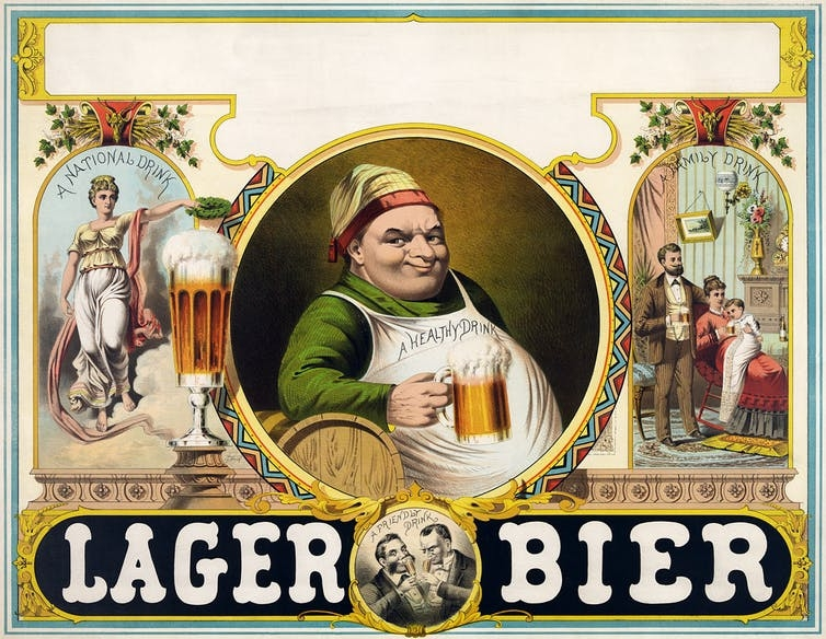 """A print from the 1800s promotes """"lager bier"""" as a """"healthy drink"""" and a """"family drink."""""""
