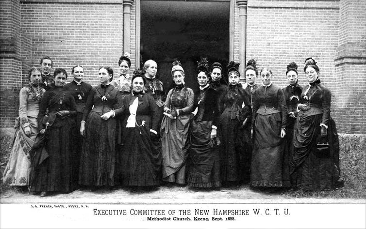 An 1888 photograph of the New Hampshire Woman's Christian Temperance Union.