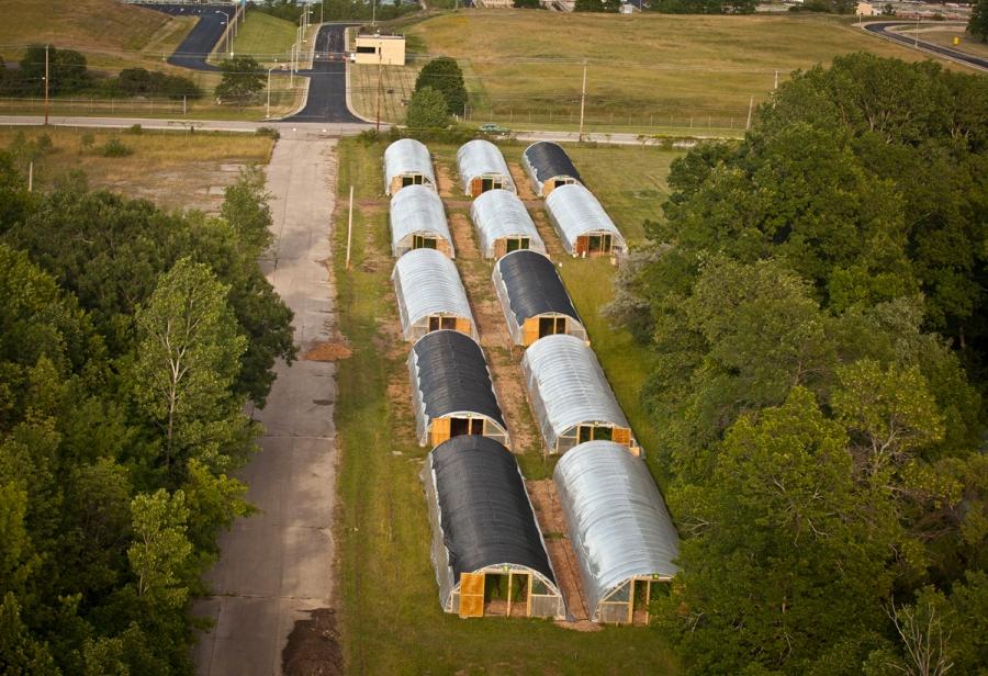 Some of Growing Power's hoop houses in Milwaukee.