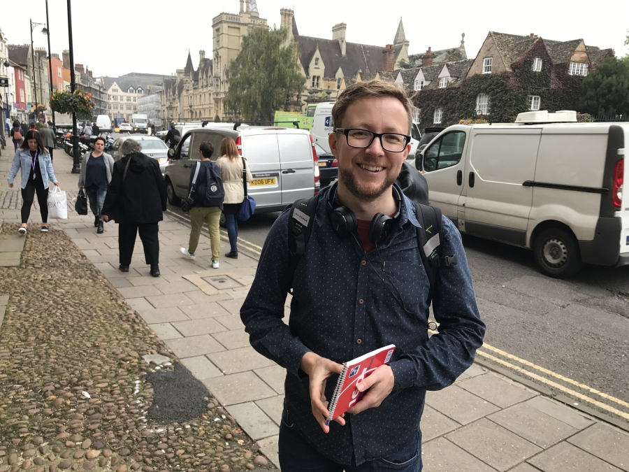 A very giddy Leo Hornak on the way to see a first edition of Shakespeare's Sonnets in Oxford.