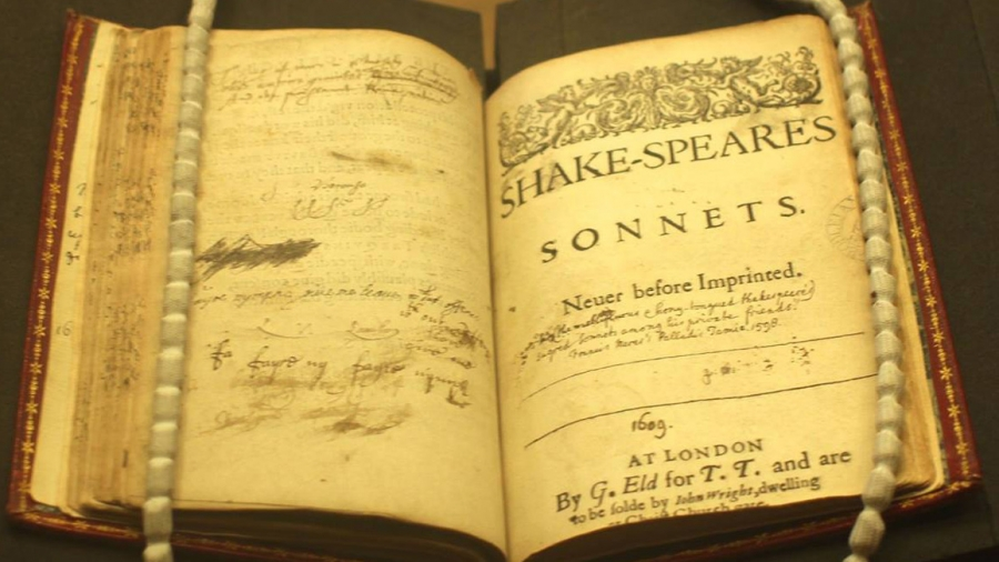 A copy of the first edition of Shakespeare's Sonnets published in 1609.