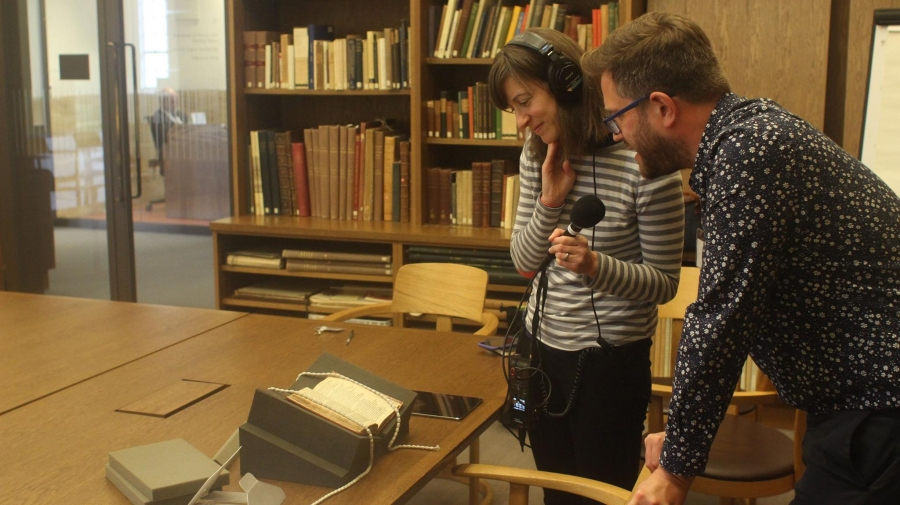 Nina Porzucki and Andy Kesson look at a 1609 first edition of Shakespeare's Sonnets