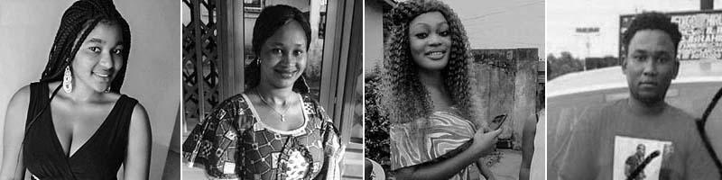 """Djenabou Bah, 19 (from left); Safourata """"Sofia"""" Sow, 28; Kaissa Camara, 20; Amadou Bah, 22."""