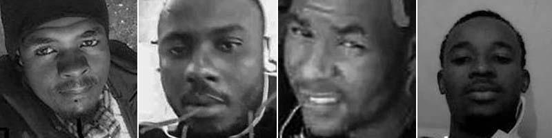 """Aladji Abdoulaye Diallo, 27 (from left); Mamadou Aliou """"Barcley"""" Bah, 28; Thierno Bah, 21; Amadou Bailo Diallo, 19."""