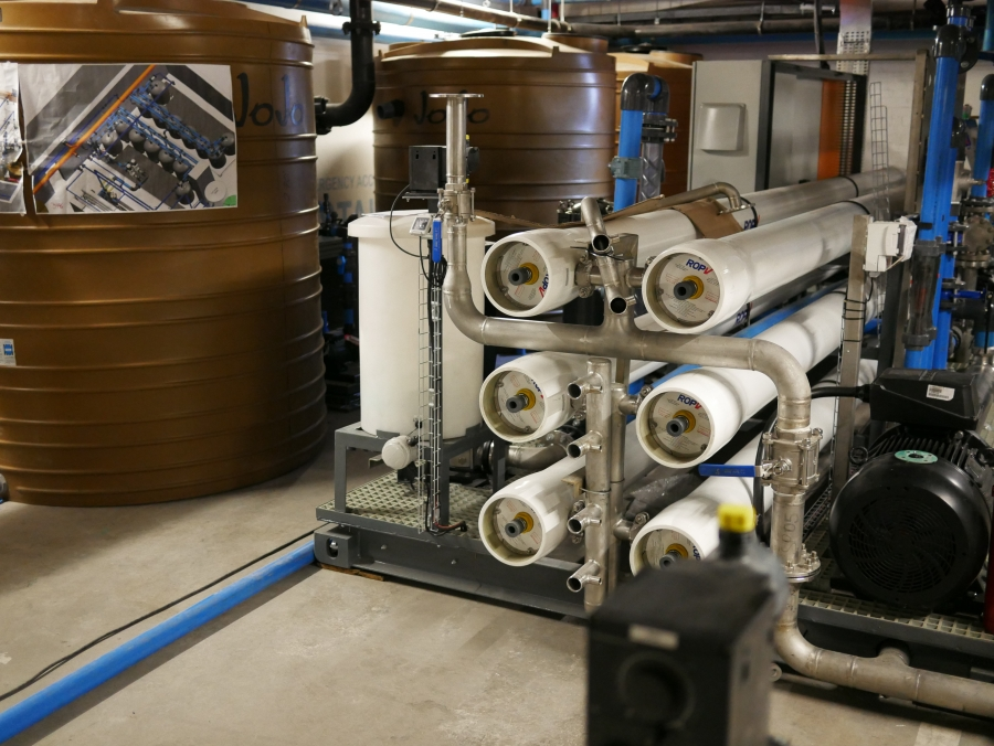 A reverse osmosis desalinization system in Cape Town's Netcare Christiaan Barnard Hospital.