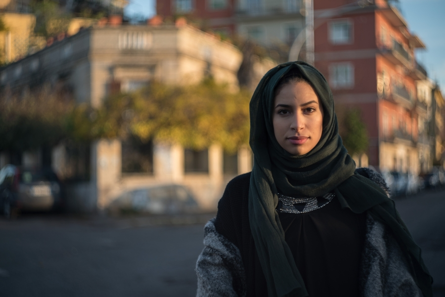 Omayma, 19, born in Italy to Moroccan parents, is living and studying in the south of Rome with her family
