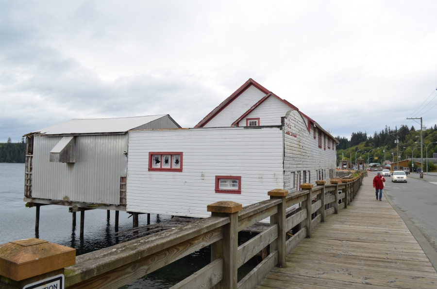 """The biggest building in the town of Alert Bay, BC is the closed salmon cannery. In decades past, local native leaders say, the town was the """"salmon capital of the world,"""" but the local salmon-based economy has been largely wiped out by environmental damag"""